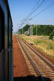 Transportation by train. View of railways from the train Royalty Free Stock Photography