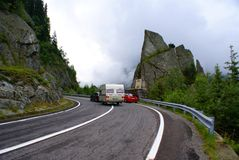 Transportation on the Transfagarasan Road Royalty Free Stock Photos