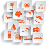 Transportation and travel icons. Set. Vector illustration Stock Photography
