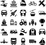 Transportation travel icons. Black and white transportation travel icons Royalty Free Stock Photo