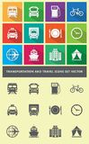 Transportation and travel icons set vector Stock Photos