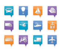 Transportation and travel icons. Vector icon set Stock Photography