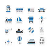 Transportation, travel and shipment icons Stock Image