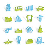 Transportation, travel and shipment icons Royalty Free Stock Photo