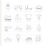 Transportation, travel and shipment icons Royalty Free Stock Images