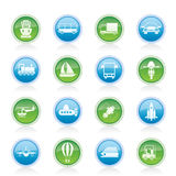 Transportation, travel and shipment icons Stock Images