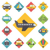 Transportation traveling icons set, flat design Royalty Free Stock Photo