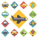 Transportation traveling icons set, flat design Royalty Free Stock Photo