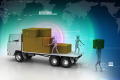 Transportation trucks in freight delivery. In color background Royalty Free Stock Photo