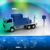 Transportation trucks in freight delivery. In color background Stock Image