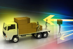 Transportation trucks in freight delivery. In color background Royalty Free Stock Image