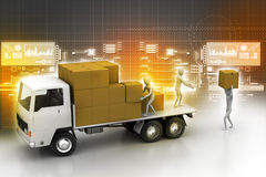 Transportation trucks in freight delivery. In color background Stock Photos