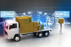 Transportation trucks in freight delivery. In color background Royalty Free Stock Photos