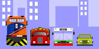 Transportation Vector. A flat design vector of bus,train,truck and car Stock Photos