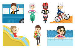 Transportation vector set with people traveling. Stock Images