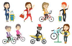Transportation vector set with people traveling. Stock Photos