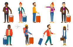 Transportation vector set with people traveling. royalty free illustration