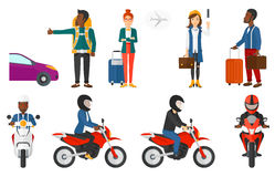 Transportation vector set with people traveling. Royalty Free Stock Image