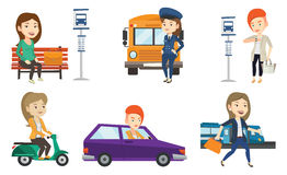 Transportation vector set with people traveling. Stock Photo