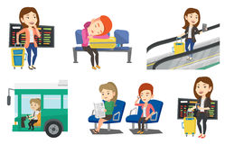 Transportation vector set with people traveling. Stock Photography