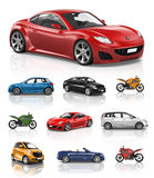 Transportation Vehicle Car Motorcycle Performance Concept Stock Images