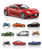 Transportation Vehicle Car Motorcycle Performance Concept Royalty Free Stock Photos