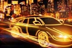 Transportation and vehicle concept. Creative drawing of orange digital car drawing on blurry night city background. Transportation and vehicle concept. 3D Royalty Free Stock Images