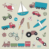 Transportation vehicles collection illustration Royalty Free Stock Image
