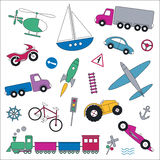 Transportation vehicles collection illustration Royalty Free Stock Photography