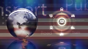 Transportation vehicles concept. Sphere concept with background usa flag Royalty Free Stock Photos