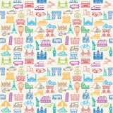 Transportation and Vehicles icons. Seamless vector Wallpapers or background travel, vacation, famous places Transportation  Vehicles icons Royalty Free Stock Photos