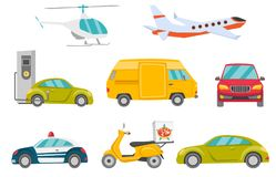 Transportation vehicles vector illustrations set. Royalty Free Stock Images