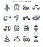 Transportation Vehicles Line Icons. Vector line icon set of vehicles and objects Royalty Free Stock Image
