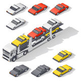 Transportation of vehicles loaded on board the car carrier isometric icon set Stock Photography