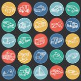 Transportation and vehicles thin line on color circles black background stock illustration