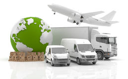 Transportation logo. Illustration of air and road transportation with vans, lorry and jet plane beside a pile of boxes and a green planet Earth, white Stock Photo