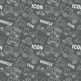 Transportation white stripe icons seamless. Placed on black background. In vector format Stock Photo