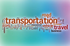 Transportation word cloud with abstract background Stock Photos