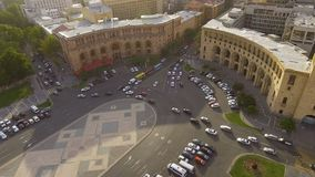 Transportation in Yerevan town, cars driving on Republic square, traffic rules. Stock footage stock video footage