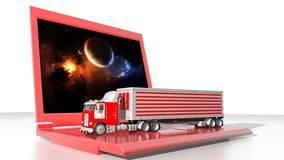 Transportations and computer technology. A truck with on a laptop PC Royalty Free Stock Photos