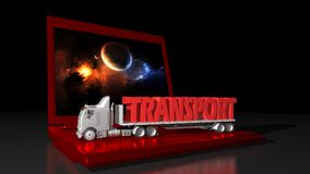 Transportations and computer technology. A truck transporting the write TRANSPORT on a laptop PC Royalty Free Stock Image