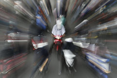Transportations. Motorists ride their motorcycles on Bangkok street Stock Images
