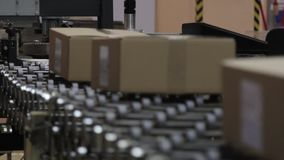 Transportband in een logistiekpakhuis Het voorverpakken van goederen stock videobeelden