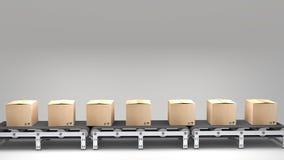 Transportband med lådor Arkivfoto