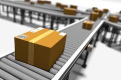 Transportbanden met Pakketten Royalty-vrije Stock Afbeeldingen