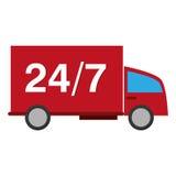24 Transportdienst mit 7 LKWs Stockfotografie