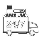 24 Transportdienst mit 7 LKWs Lizenzfreie Stockfotografie