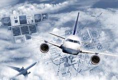Transporte aéreo internacional Fotografía de archivo libre de regalías