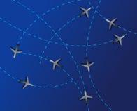 Transporte aéreo. Las líneas de puntos son trayectorias de vuelo Fotos de archivo libres de regalías