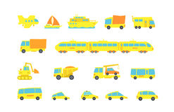 Transporte amarelo ajustado da criança A variedade faz à máquina a carga e os passageiros Ilustração original do vetor Estilo dos Imagens de Stock Royalty Free